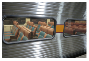 The seating on a South Shore train. This particular passenger train had extra seats installed.
