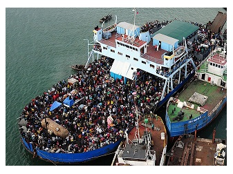 Traveling by ferry is a common means of transportaion in South Korea